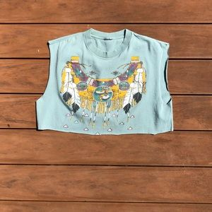 Seafoam Trompe L'oeil Native American Crop Top